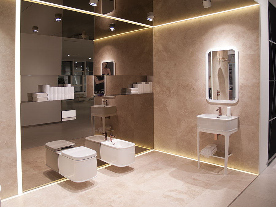 The new finishes of the chelsea series stand out among for Porcelanosa bathroom designs