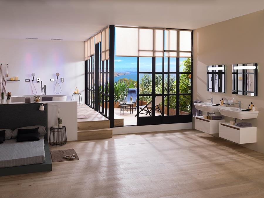 Ba o y dormitorio estancias fusionadas en un mismo ambiente for Dormitorio con bano