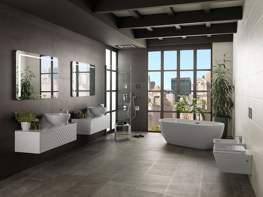 How to decorate an urban bathroom minimalism and light to - Porcelanosa banos pequenos ...