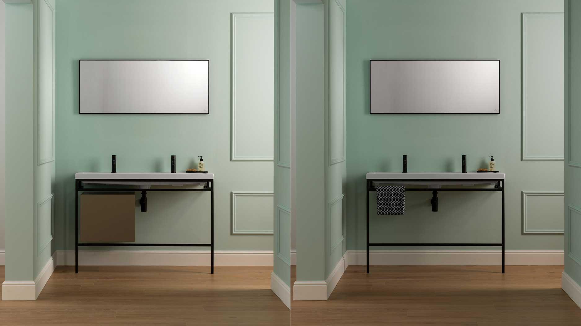 Meuble de salle de bain Square : une pièce métallique faite sur