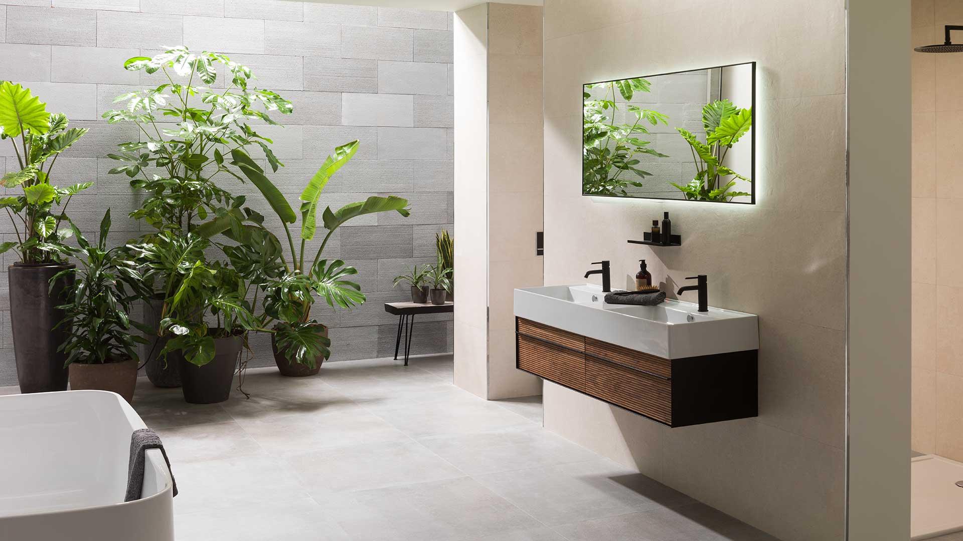 Baños en negro y madera  la sofisticación más natural  6ab42bc2b82c